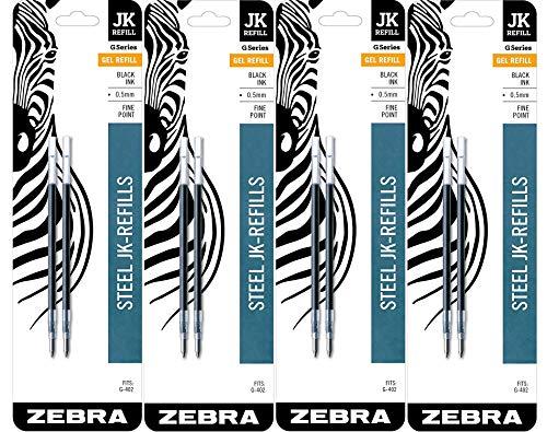 Zebra G-402 Stainless Steel Pen JK-Refill, Fine Point, 0.5mm, Black Ink, 8-Count