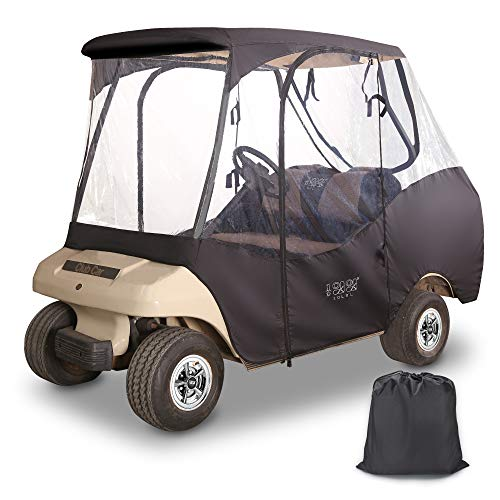 10L0L 2 Passenger Golf Cart Enclosure Portable 360°Panoramic Transparent Window DS Golf Cart Cover Storage Enclosure Driving cab-4 Sides Black Bottom