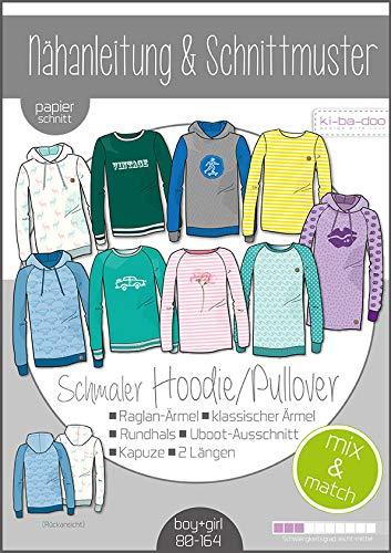 Schnittmuster kibadoo Kinder Mix&Match Sweater/Hoodie Papierschnittmuster