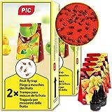 PIC - Trampa para Moscas de la Fruta - 4 trampas de Pegamento con 2 recipientes atrayentes - Medios para Combatir Las Moscas de la Fruta - Apto para la Cocina