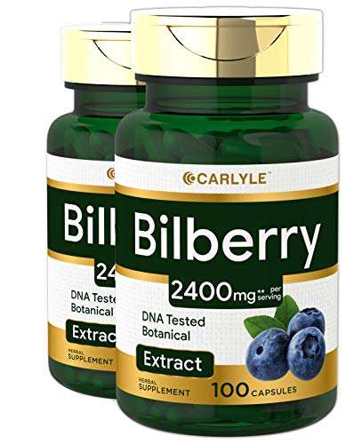 Bilberry Extract Capsules | 2400mg | 200 Count | Non-GMO, Gluten Free Fruit Supplement | by Carlyle