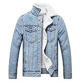 LZLER Men's Fleece Jean Jacket Winter Cotton Sherpa Lined Denim Trucker Jacket(805 Light Blue, M)