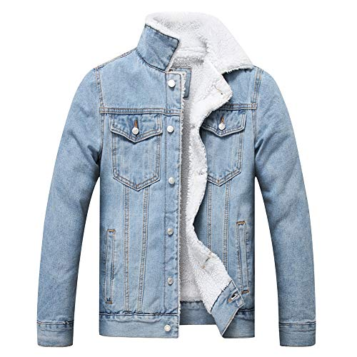 LZLER Men's Fleece Jean Jacket Winter Cotton Sherpa Lined Denim Trucker Jacket(Light Blue, XL)