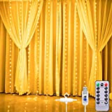 Curtain Lights,Star String Twinkle Fairy String Lights for Bedroom, 8 Modes Waterproof 9.8 X 9.2ft 280 LED Christmas Wall Decor Hanging Lights with Remote Control ,Wedding Garden Outdoor Indoor(White)