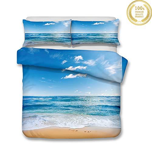 Juego de Ropa de Cama 3 Piezas, Morbuy 3D Paisaje del mar Impresión Microfibra Juego de Fundas de Edredón Incluye Funda Nórdica y Funda de Almohada (200x200cm,Playa de Agua de mar)