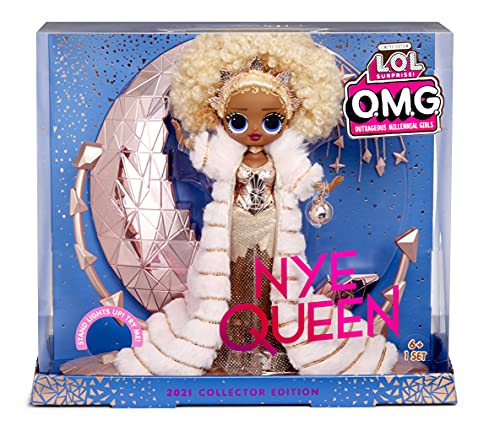 LOL Surprise Holiday OMG 2021 Kolekcjonerska Lalka Modowa - NYE QUEEN - ze złotą modą, akcesoriami i podświetlanym stojakiem - Noworoczny wygląd - Świetny prezent dla chłopców i dziewczynek w wieku 4+