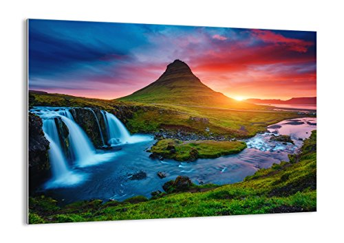 Bilder auf glas - Sonnenuntergang Wasserfall Island Vulkan - 70x50cm - Glasbilder - Wandbilder - Kunstdruck - Wanddekoration aus Glas - Glas Bilder - Wandbild auf Glas - GAA70x50-2963