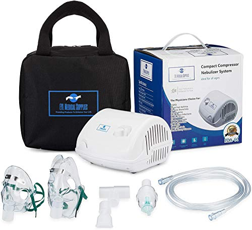 Compact Piston Compressor Nebulizer For Asthma Includes Two Mask Carry Bag