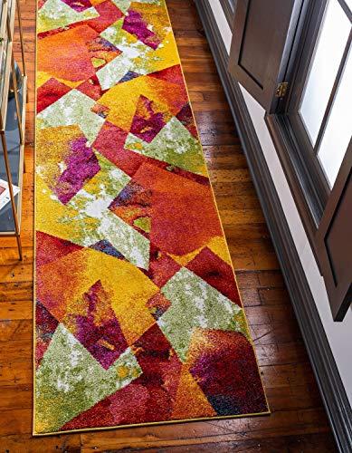 Unique Loom Lyon Tapis de Couloir Moderne Abstrait Multicolore Jaune 2 x 6 m