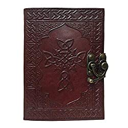 Genuine Leather Journal With Celtic Cross On The Cover
