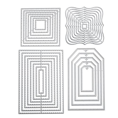 4 Stück Stanzschablone Geometrisch Set Stanzformen Quadratisch Rechteckig Viereck Quadrat Rahmen Schneiden Prägeschablonen Prägung Schablone Stanzschablonen für Scrapbooking Album Karten Kunst Basteln