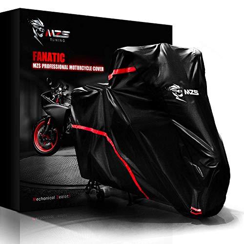 MZS Telo Coprimoto,210D Oxford Impermeabile Teli per Moto Resistente ad Acqua/Polvere/Vento Universale per Motorino Motociletta Scooter - Nero, 220 x 95 x 125cm (L)