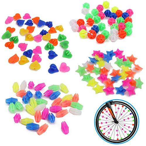 QKURT 140 Stück Fahrrad Speichen Dekor, Fahrrad Rad Speichen Fahrrad Kunststoff Clip Rad Speichen Zubehör
