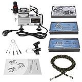 KKmoon Kit Aerógrafo Compresor Profesional con 3 Aerógrafo+Mini Compresor de Aire+Tubo de Aire Trenzado+Cepillo de Limpieza para Coloración Cerámica y Modelo/Manicura