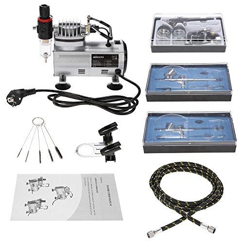 KKmoon Aerografo Professionale Kit con Mini Compressore Aerografo Set, Set di Attrezzi...