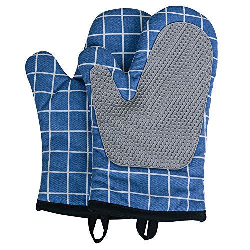 THETAG Ofenhandschuhe, Silikon, hitzebeständige Ofenhandschuhe, rutschfest, hitzeisolierende Handschuhe zum Grillen, Küche, Kochen, Backen, Mikrowelle (Blau, 1 Paar)