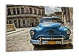 Cuadro sobre vidrio - Impresiones sobre Vidrio - Coche retro Cuba La Habana - 70x50cm - Decoracion de Pared - Impresión en Vidrio - Cuadro en vidrio - Cuadro de Cristal - GAA70x50-2461