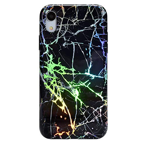 Velvet Caviar Compatible with iPhone XR Case for Girls & Women - Cute Color Changing Protective Phone Cases (Holographic Black Marble)