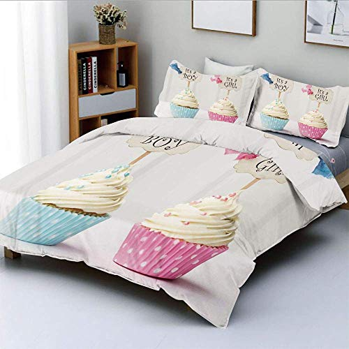 Duvet Cover Set,Boy and Girl with Cupcakes Yummy Chocolate Celebration Theme Decorative 3 Piece Bedding Set with 2 Pillow Sham,Pale Blue and Pink Cream,Best Gift For Kids & Adul