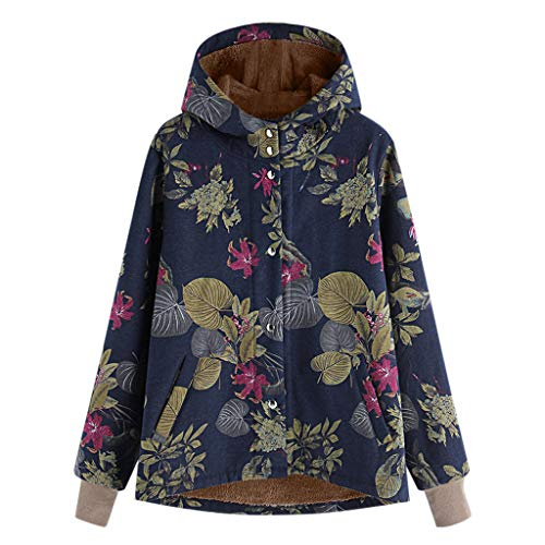 Snakell Manteau à Capuchon pour Femme Taille Plus Large à Manches Longues en Coton à Manches Longues en Lin Moelleux Oversize Outwear Pochettes à Capuchon à imprimé Floral