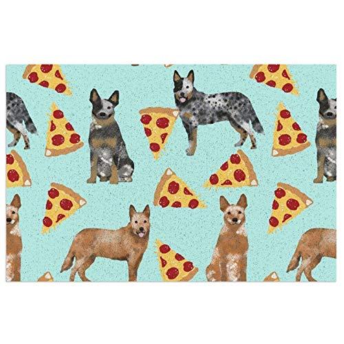FFLSDR Felpudo para Perros de Ganado Australiano, Tacones Azules y Rojos y Pizzas, Alfombrilla para Zapatos de PVC, Alfombra Antideslizante, Alfombra de Bienvenida, Alfombra de Entrada 40X60CM