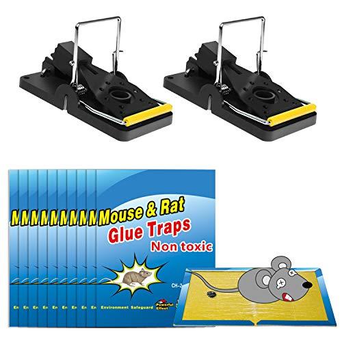Wemk Trampas para Ratones y Ratas, Pack de 2 Trampas con Resortes para Ratones y 10 Trampas de Pegamento para Ratones - Trampas Eficientes y Fáciles de Instalar