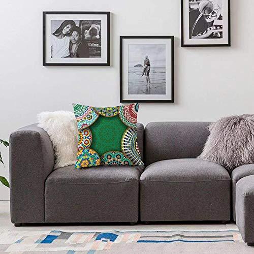 Bedsure Funda Cojin 45 x 45cmMarroquí, Motivo Oriental con Mezcla de Hippie Retro Círculo Marruecos Mosaico Líneas Sagrado DisFunda de Almohada Cuadrada para Sofá, Dormitorio y Sala de Estar