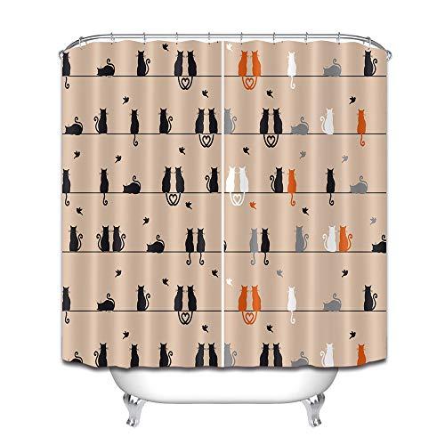 Katze, schwarz-weiß, grau-braun, Individuellkeit, einfacher Duschvorhang, Badezimmer-Vorhang, Dekoration, wasserdichter Stoff