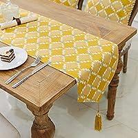 テーブルランナーキッチン フリンジテーブルランナーキッチンダイニングリビングルーム農家用幾何生地ツイルランナー屋内と屋外、2色 (Color : Yellow, Size : 30*160cm)