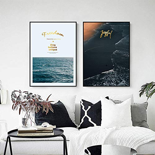 FGJF Landscape Home Wall Decor Beach Coastal Mountain Prints Nordic Canvas Painting Living Room Modern Picture Decor Painting-50X70Cmx2 Pcs Frameless