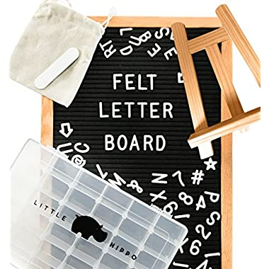 "Letter Board |SUPER BUNDLE| Black (12  x 18 ) INCLUDES: 690 Letters/Numbers/Characters (340 ¾""+ 378 1"")+ SORTING TRAY+ Letter Pouch+ Felt Letter board Stand+ Gift Box! Changeable Letterboard"