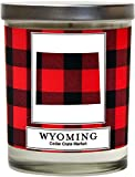 Wyoming Buffalo Plaid Scented Soy Candle   Fraser Fir, Pine Needle, Cedarwood   10 Oz. Glass Jar Candle   Made in The USA   Decorative Candles   Going Away Gifts for Friends   State Candles