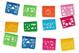 Paper Full of Wishes I Mini Plastic Mexican Papel Picado Banner I Toda Ocasion I Multi-Color 4 Feet Long I 10 Small Panels Ideal for Altars, Crafts, Etc