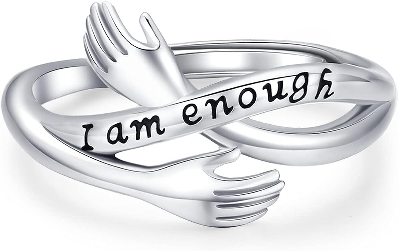 I Am Enough Free shipping Ring Inspirational Rings Award Sterling 925 Adjustable Si