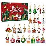 IMIKEYA Mini Christmas Ornaments, Christmas Countdown Advent Calendar Ornaments Set of 24 Resin Christmas Ornaments Angel Santa Snowman Reindeer Small Miniature Christmas Tree Ornaments
