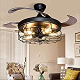 Depuley Ceiling Fan with Lights, Industrial Ceiling Fan with Retractable 4 Blades,Vintage Chandelier Remote Control Lamp for Kitchen, Dining Room, Living Room, Edison Bulbs Not Included, Black