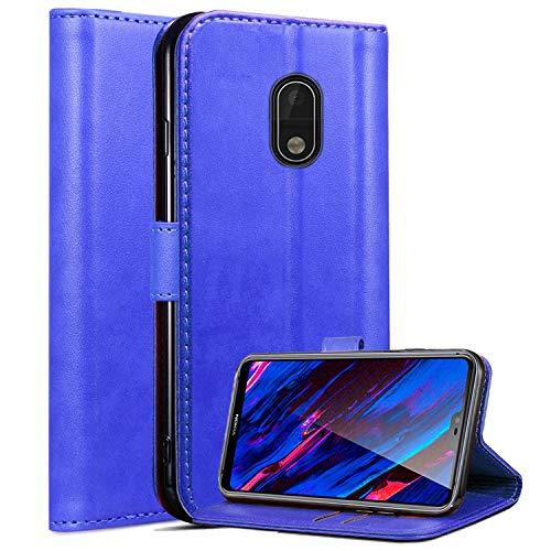Roba de Cellulare Nokia 2.1 Case, Custodia Protettiva in Pelle Magnetica per PU Custodia Protettiva in Pelle per Nokia 2.1 (2018) con Slot per schede e Supporto (Blue)