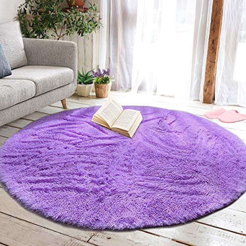 junovo Round Fluffy Soft Area Rugs for Kids Girls Room Princess Castle Plush Shaggy Carpet Cute Circle Nursery Rug for Kids Teen's Bedroom Living Room Home Decor Large Circular Carpet, 6ft Purple