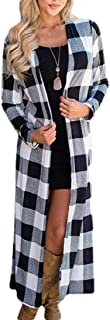 Womens Lightweight Plaid Long Sleeve Open Front Long Kimono Cardigan Jacket