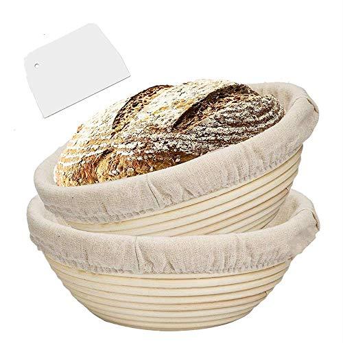 Set of 2 8.5 Inch Round Banneton proofing Basket, Sourdough Bread Basket with Storage Bag,Dough Scraper, Cloth Liner, Starter Recipe for Home Baker, 100% Natural Rattan