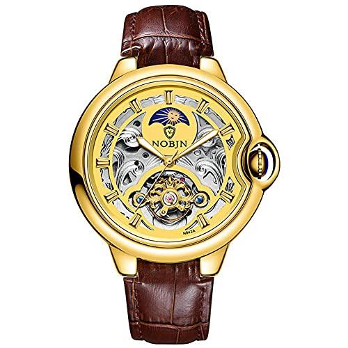 HKX Reloj Reloj mecánico con Correa de Cuero, Reloj automático, Reloj mecánico automático de Acero Inoxidable para Hombre, Reloj automático, Correa de Cuero (Masculino y Femenino), Dorado