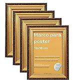Nacnic - Set de 4 Marcos Dorados con Filigrana (13x18cm) para apoyar o Colgar en la Pared. Color Oro para Fotos, Diplomas, Dibujos.
