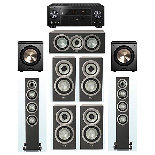 For Sale! ELAC Uni-Fi Slim Black 7.2 System with 2 FS-U5 Floorstanding Speakers, 1 CC-U5 Center Spea...