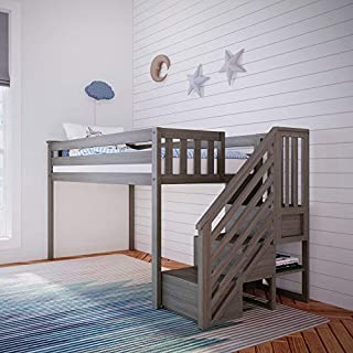 Max & Lily Twin Low Loft Bed with Staircase, Clay (B07YM8699T) | Amazon price tracker / tracking, Amazon price history charts, Amazon price watches, Amazon price drop alerts