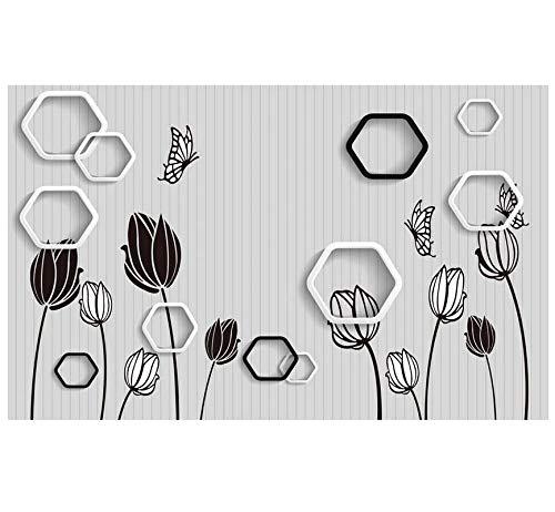 Fotobehang aangepaste 3D-behang zwart wit bloem vlinder geometrische polygon muurschildering PVC zelfklevend slaapkamer woonkamer TV achtergrond wanddecoratie 200(w)x140(H)cm
