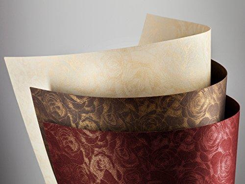 20 FALAMBI Premiumkarton Rosenblüten bordeaux, Papier 250 g/m², bedruckbar, metallic Karton, durchgefärbt