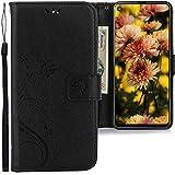 CLM-Tech Hülle kompatibel mit Samsung Galaxy A8s - Tasche aus Kunstleder - Klapphülle mit Ständer & Kartenfächern, Schmetterlinge schwarz