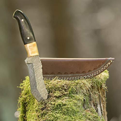 elToro Brass Horn - Damast - Jagdmesser - 12,3cm - inkl. Lederscheide; Messer für Camping, Outdoor, Survival