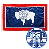 WINBEE Wyoming State Flag 3x5 Ft - Premium Embroidered, Heavy Duty 300D Nylon, Sewn Stripes and Brass Grommets. Best American Wyoming Flag Great for Outdoor/Indoor Display.