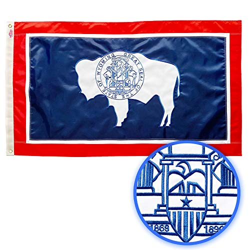 Winbee Wyoming State Flag 3x5 Ft - Premium Embroidered, Long Lasting 300D Nylon, Sewn Stripes, Brass Grommets and UV Protected. Best American Wyoming Flag Great for Outdoor/Indoor Display.